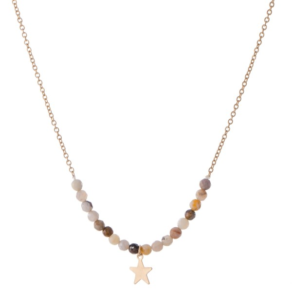 "Semi Precious Beaded Star Necklace.  - Pendant 1cm  - Approximately 16"" L  - 3"" Adjustable Extender"