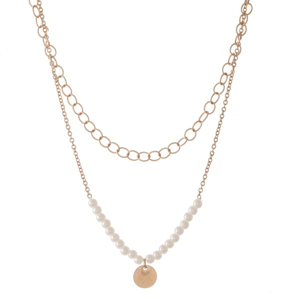"""Ivory Pearl Layered Necklace with Gold Accent.  - Shortest Layer 12""""  - Approximately 16"""" L  - 3"""" Adjustable Extender"""