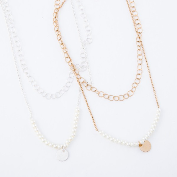 "Ivory Pearl Layered Necklace with Gold Accent.  - Shortest Layer 12""  - Approximately 16"" L  - 3"" Adjustable Extender"