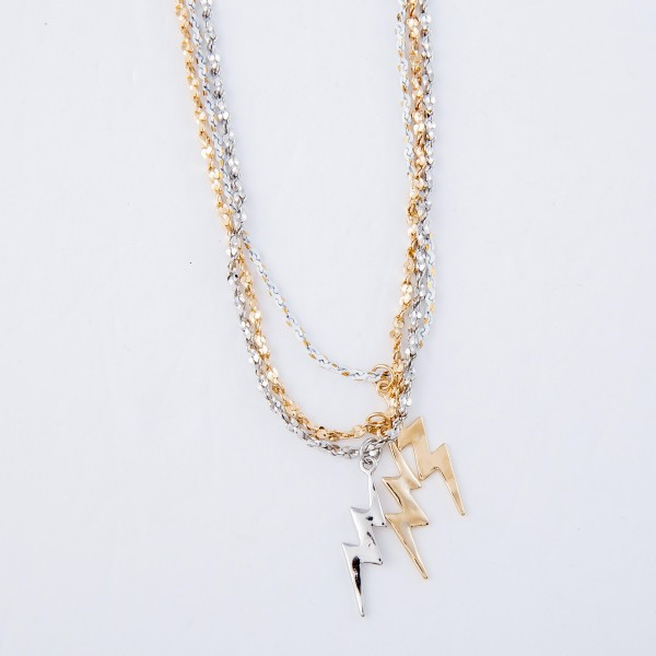 "Lightning Bolt Necklace with Rope Like Chain.  - Pendant 1""  - Approximately 16"" L - 3"" Adjustable Extender"