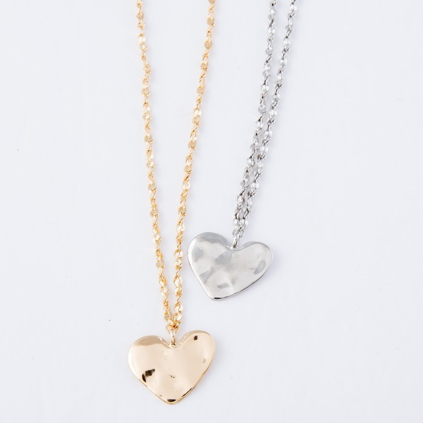 "Hammered Heart Pendant Necklace with Rope Like Chain.  - Pendant 1""  - Approximately 16"" L - 3"" Adjustable Extender"