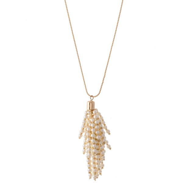 "Long Gold Necklace with Pearl Beaded Tassel Pendant.  - Pendant 3""  - Approximately 36"" L  - 3"" Adjustable Extender"