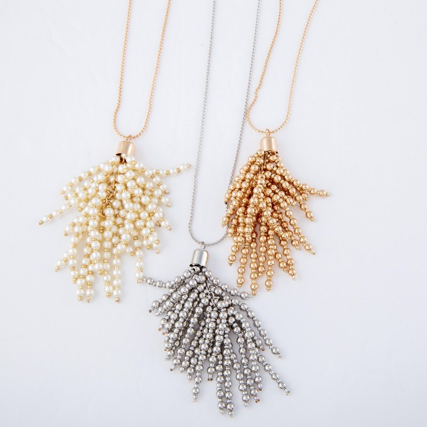 """Long Gold Necklace with Gold Beaded Tassel Pendant.  - Pendant 3""""  - Approximately 36"""" L  - 3"""" Adjustable Extender"""