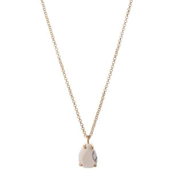 Wholesale natural stone teardrop pendant necklace Pendant L overall extender