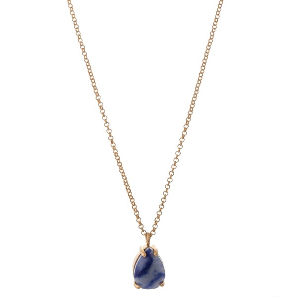 """Natural stone teardrop pendant necklace.  - Pendant approximately .5""""  - Approximately 18"""" L overall - 3"""" extender"""