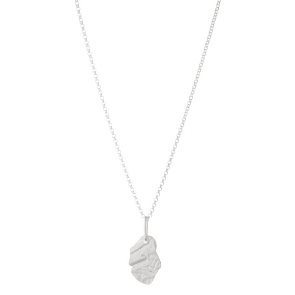 "Nugget Pendant Necklace in Matte Silver.  - Pendant 1""  - Approximately 16"" L - 3"" Adjustable Extender"