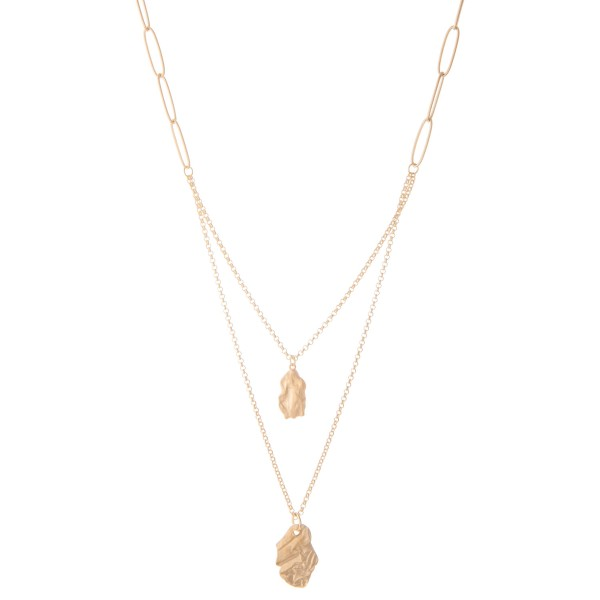 """Long Chain Link Nugget Layered Necklace in Matte Gold.  - Pendant 1""""  - Approximately 28"""" L overall - 3"""" Adjustable Extender"""