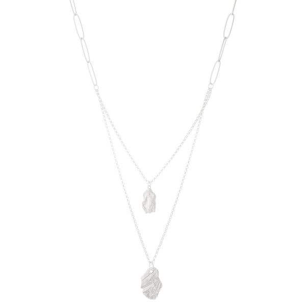 """Long Chain Link Nugget Layered Necklace in Matte Silver.  - Pendant 1""""  - Approximately 28"""" L overall - 3"""" Adjustable Extender"""