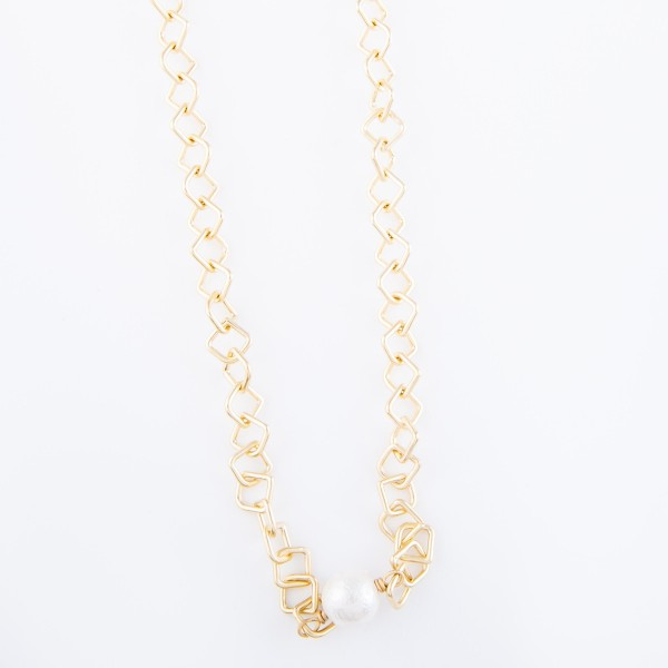 "Ivory Pearl Diamond Chain Link Necklace in Matte Gold.  - Approximately 16"" L - 3"" Adjustable Extender"