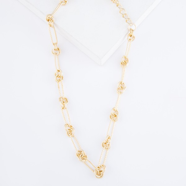 """Textured Knotted Chain Link Necklace In Matte Gold.  - Approximately 16"""" L  - 3"""" Adjustable Extender"""