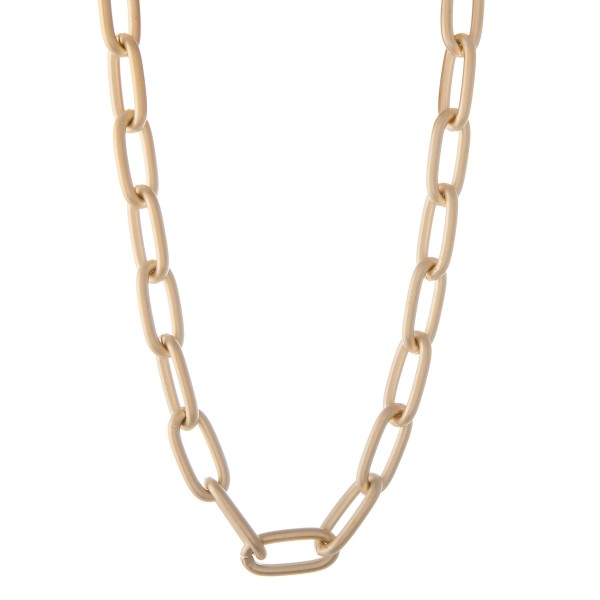"Oval Chain Link Fashion Necklace in Matte Gold.  - Approximately 14"" L - 2"" Adjustable Extender"