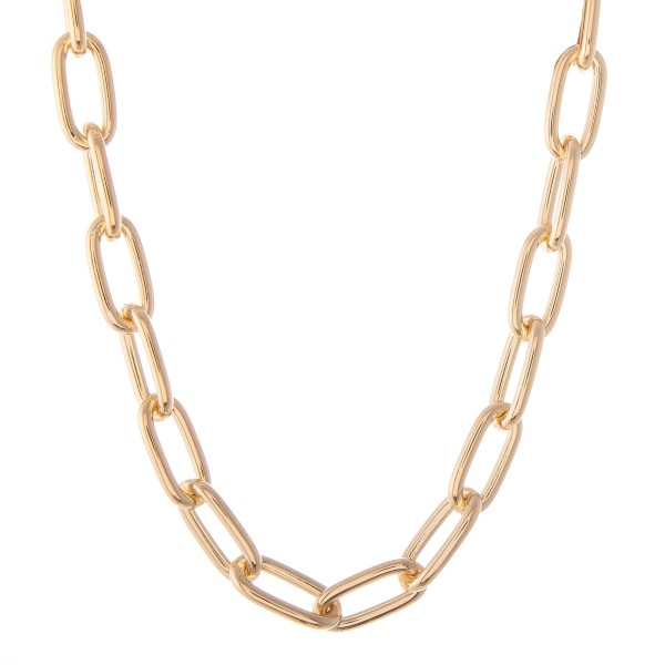 "Chunky Hera Link Necklace in Gold.  - Approximately 16"" L - 3"" Adjustable Extender"