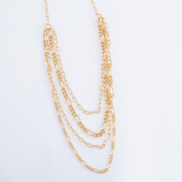 """Brass Figaro Layered Chain Link Necklace.  - Approximately 16"""" L - 3"""" Adjustable Extender"""