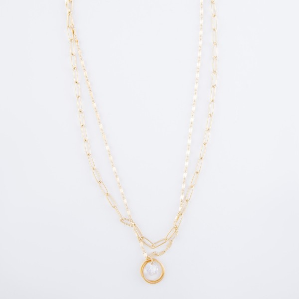 """Brass Layered Cubic Zirconia Layered Necklace in Matte Gold.  - CZ 1cm  - Approximately 16"""" L  - 3"""" Adjustable Extender"""