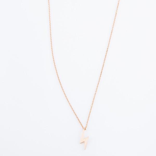 "Gold Dipped Rose Gold Lightning Bolt Necklace.  - Pendant .5"" - Approximately 15"" L - 2"" Adjustable Extender"