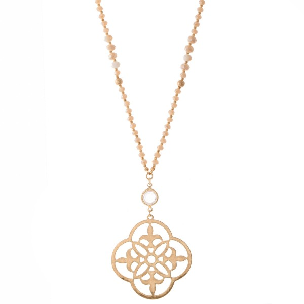 "Long Semi Precious Beaded Sacred Geo Pendant Necklace.  - Pendant 2""  - Approximately 34"" L - 3"" Adjustable Extender"