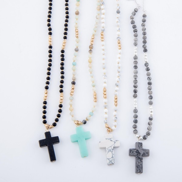 "Semi Precious Beaded Natural Stone Cross Necklace.  - Pendant 1.25"" - Approximately 20"" L - 3"" Adjustable Extender"
