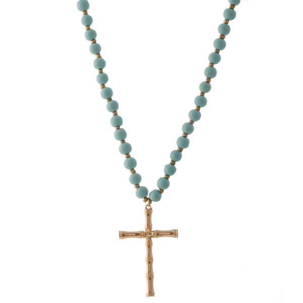 "Wood Beaded Bamboo Cross Statement Necklace.  - Pendant 3""  - Approximately 40"" L overall - 3"" Adjustable Extender"