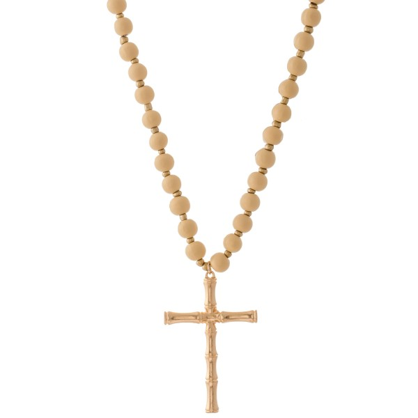 """Wood Beaded Bamboo Cross Statement Necklace.  - Pendant 3""""  - Approximately 40"""" L overall - 3"""" Adjustable Extender"""