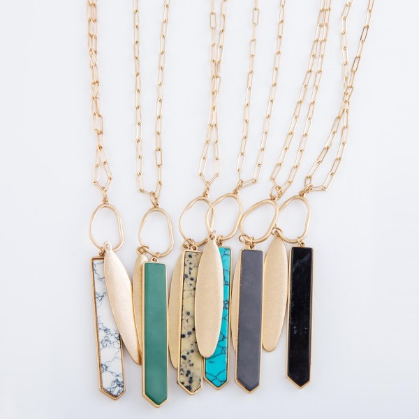 "Long Gold Semi Precious Bar Pendant Necklace.  - Pendant 3""  - Approximately 36"" L overall - 3"" Adjustable Extender"