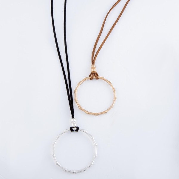 "Long Faux Leather Bamboo Ring Necklace.  - Pendant 2.75""  - Approximately 36"" L - 3"" Adjustable Extender"