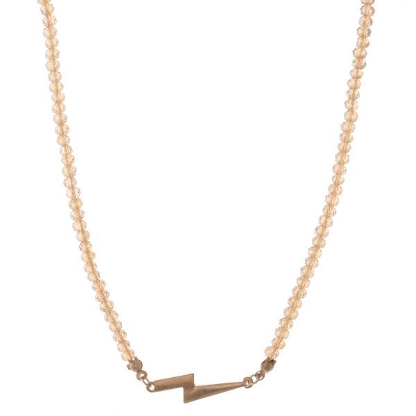Wholesale short Beaded Lightning Bolt Bar Necklace Pendant L Adjustable Extender