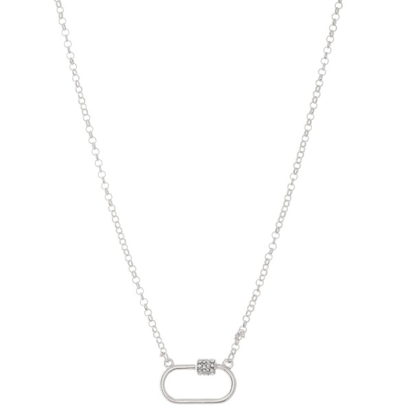 """Rhinestone Carabiner Necklace in Satin Silver.  - Pendant 1""""  - Approximately 18"""" L - 3"""" Adjustable Extender"""