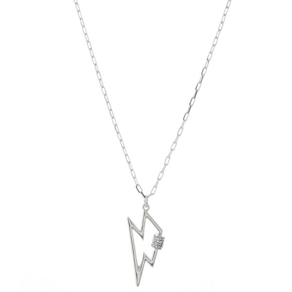 "Rhinestone Carabiner Lightning Bolt Necklace.  - Pendant 1.25""  - Approximately 18"" L - 3"" Adjustable Extender"