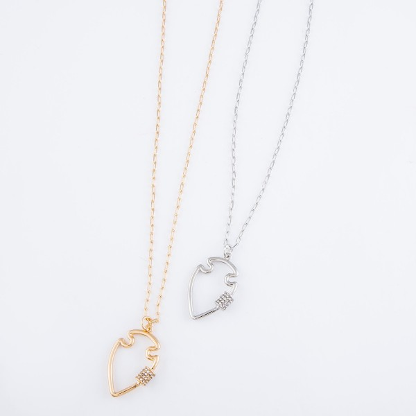 """Rhinestone Carabiner Arrow Necklace in Satin Silver.  - Pendant 1.25"""" - Approximately 18"""" L - 3"""" Adjustable Extender"""