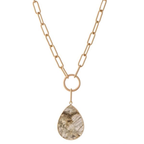 "Semi Precious Chain Link Teardrop Necklace.  - Pendant 1.5""  - Approximately 18 "" L  - 3"" Adjustable Extender"