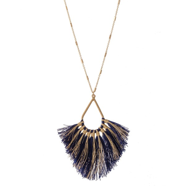 "Long Metallic Stripe Fringe Tassel Teardrop Pendant Necklace.  - Pendant approximately 4""  - Approximately 40"" L overall - 3"" extender"