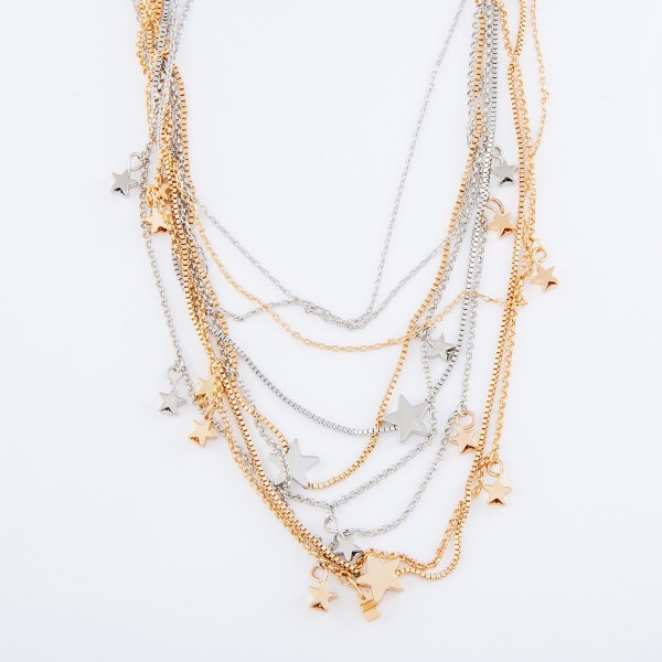 "Star Layered Necklace.  - Shortest Layer 12""  - Approximately 16"" L overall - 3"" Adjustable Extender"