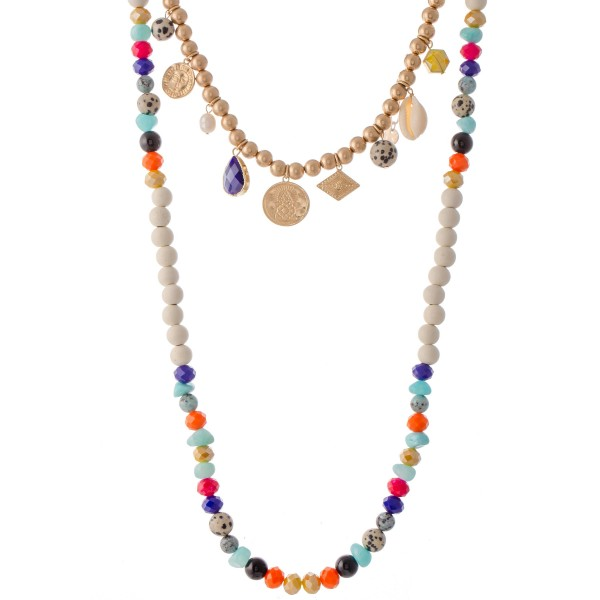 """Ivory Wood Beaded CCB Coin Charm Layered Statement Necklace with Multicolor Natural Stone Details.  - Shortest Layer 16"""" L - Approximately 34"""" L  - 3"""" Adjustable Extender"""