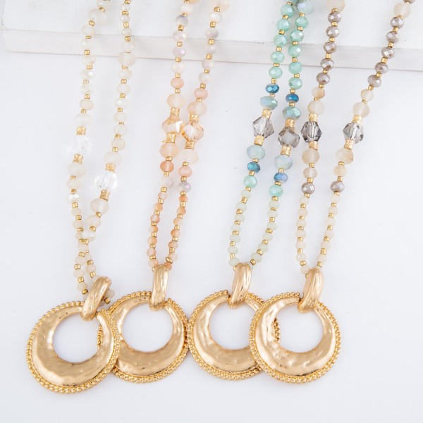 "Long Semi Precious Beaded Gold Pendant Necklace.  - Pendant 1.5"" in diameter - Approximately 32"" L  - 3"" Adjustable Extender"