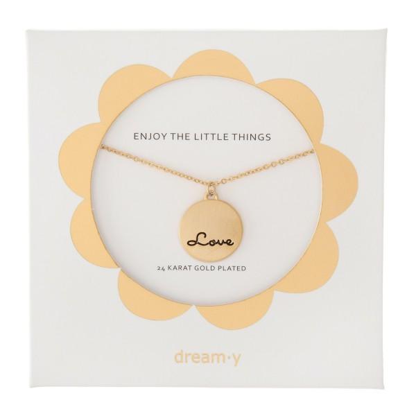"24 Karat Gold Plated Love Pendant Necklace.  - Pendant .5"" in diameter - Approximately 18"" L  - 3"" Adjustable Extender"