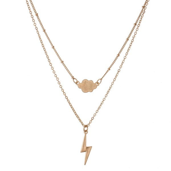 """Lightning Bolt Layered Necklace with Gold Accent.  - Shortest Layer 12""""  - Approximately 16"""" L  - 3"""" Adjustable Extender"""