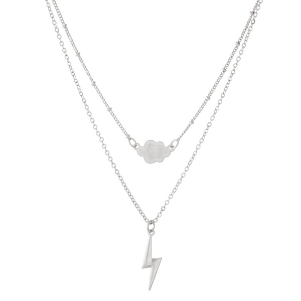 "Lightning Bolt Layered Necklace with Silver Accent.  - Shortest Layer 12""  - Approximately 16"" L  - 3"" Adjustable Extender"