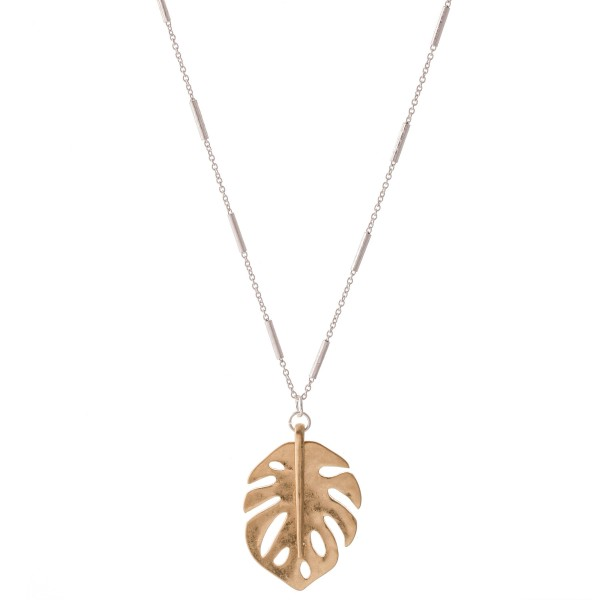 "Two Tone Metal Palm Leaf Pendant Necklace.  - Pedant 1.25""  - Approximately 22"" L  - 3"" Adjustable Extender"