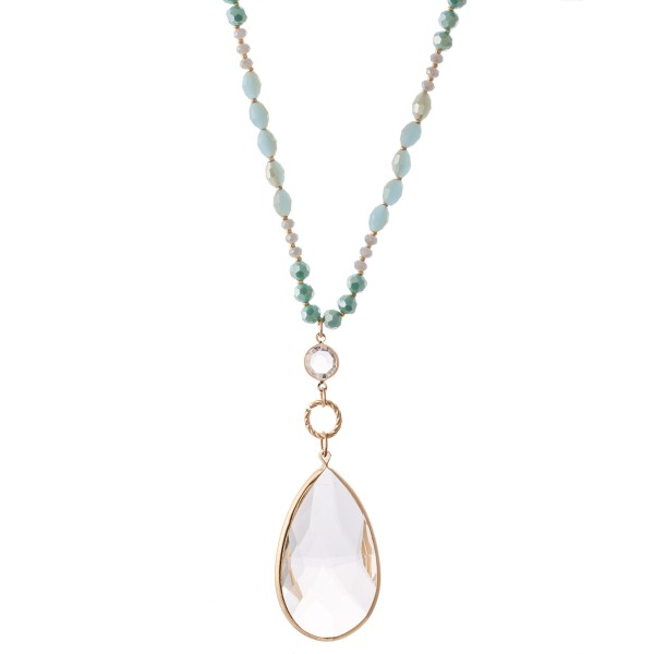 "Long Glass Beaded Crystal Clear Teardrop Pendant Necklace.  - Pendant 3""  - Approximately 38"" L  - 3"" Adjustable Extender"