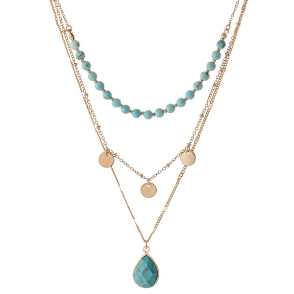 "Layered Natural Stone Beaded Necklace Featuring Teardrop Pendant and Gold Accents.  - Shortest Layer 14"" L - Approximately 20"" L  - 3"" Adjustable Extender"