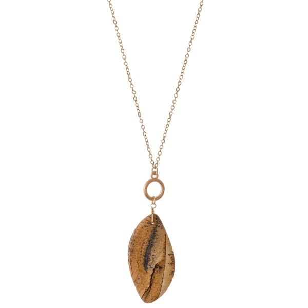 """Multi-Function Semi Precious Pendant Necklace Featuring a Toggle Bar Clasp for Layering.  - Can Be Worn Long or Layered - Pendant 2""""  - Approximately 40"""" L overall"""