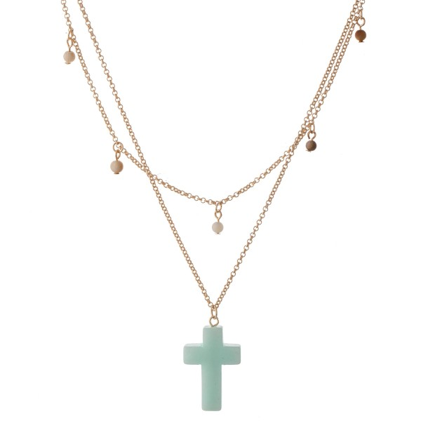 "Semi Precious Layered Cross Necklace Featuring Beaded Accents.  - Cross 1""  - Approximately 20"" L  - 3"" Adjustable Extender"