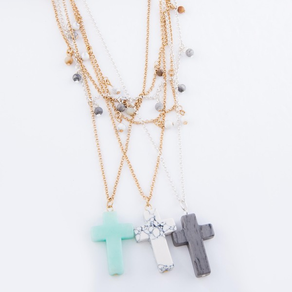 """Semi Precious Layered Cross Necklace Featuring Beaded Accents.  - Cross 1""""  - Approximately 20"""" L  - 3"""" Adjustable Extender"""