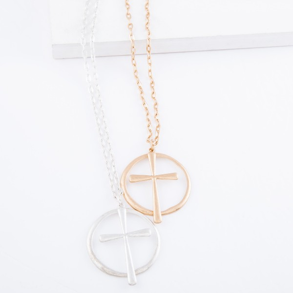 """Long Chain Necklace Featuring Nested Dangle Cross Pendant.  - Pendant 2""""  - Approximately 34""""  L - 3"""" Adjustable Extender"""