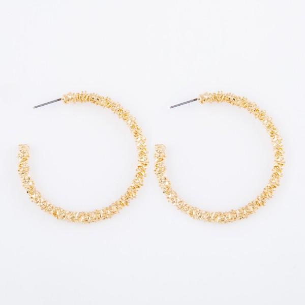 """Gold Crinkled Hoop Earrings.  - Approximately 1.75"""" in diameter"""
