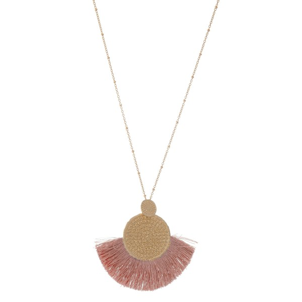 "Long Necklace Featuring Gold Textured Circular Pendant with Thread Tassels.  - Pendant 3"" x 3""  - Approximately 36"" L  - Adjustable 3"" Extender"