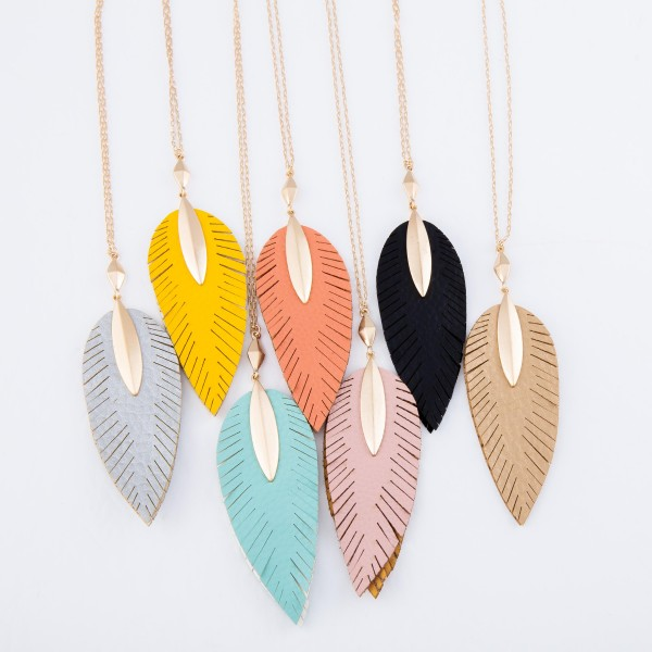 """Long Necklace Featuring Faux Leather Leaf Pendant in Gold.  - Pendant 4.25"""" L  - Approximately 38"""" L  - Adjustable 3"""" Extender"""