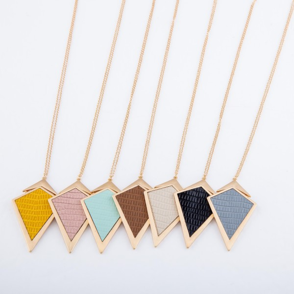 "Long Necklace Featuring Metal Encased Faux Leather Triangular Pendant.  - Pendant 2.75"" L  - Approximately 36"" L  - Adjustable 3"" Extender"
