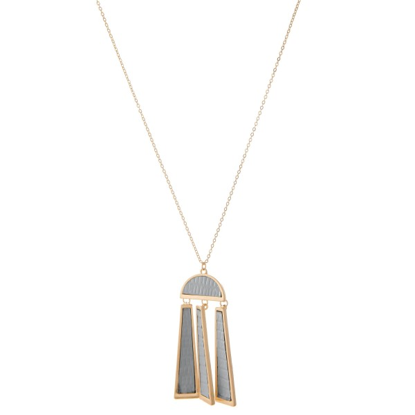 "Long Necklace Featuring Metal Encased Faux Leather Metal Tassel Pendant.  - Pendant 3"" L - Approximately 36"" L  - Adjustable 3"" Extender"