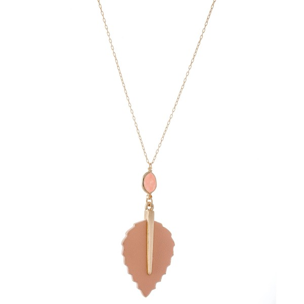 "Long Necklace Featuring Faux Leather Leaf Pendant Featuring Semi Precious Accent.  - Pendant 4"" L  - Approximately 38"" L  - Adjustable 3"" Extender"